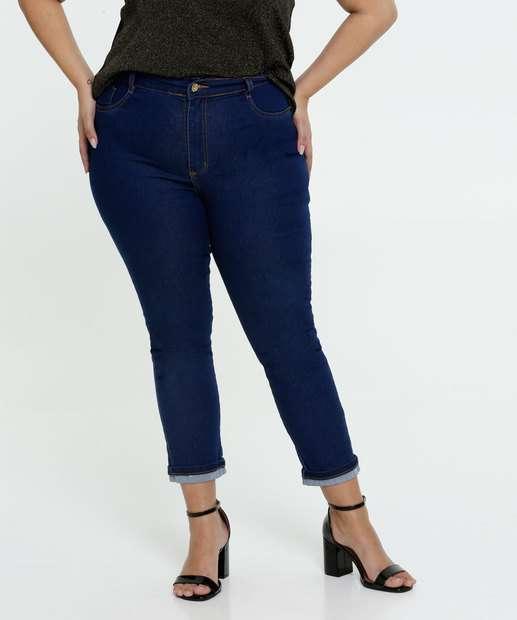 Image_Calça Jeans Cigarrete Barra Dobrada Feminina Plus Size Sawary