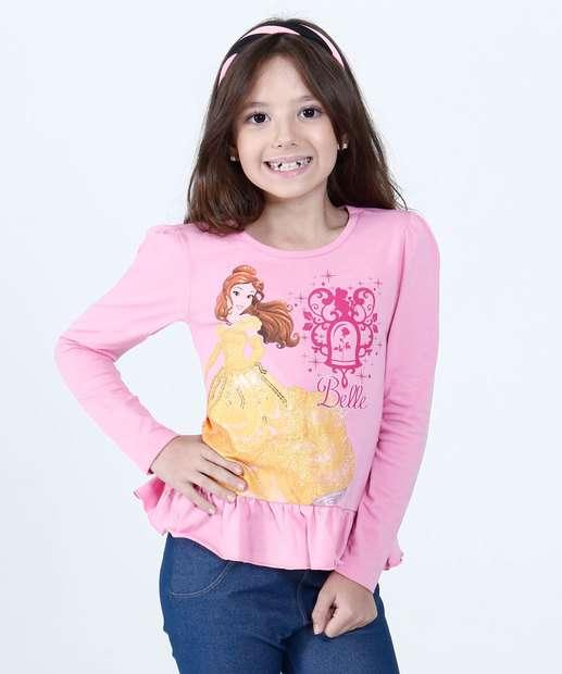 Image_Blusa Infantil Princesa Bela Babado Manga Longa Disney