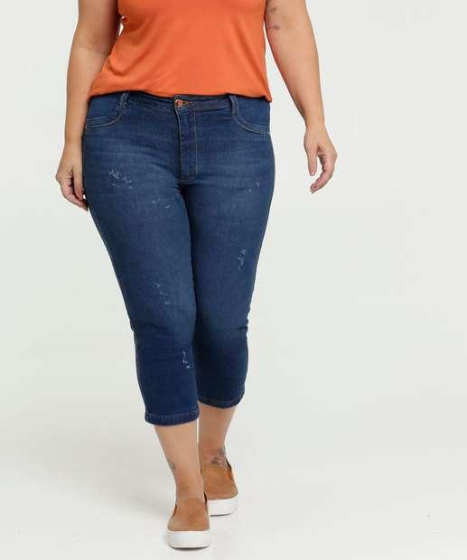 Image_Calça Feminina Jeans Puídos Capri Plus Size