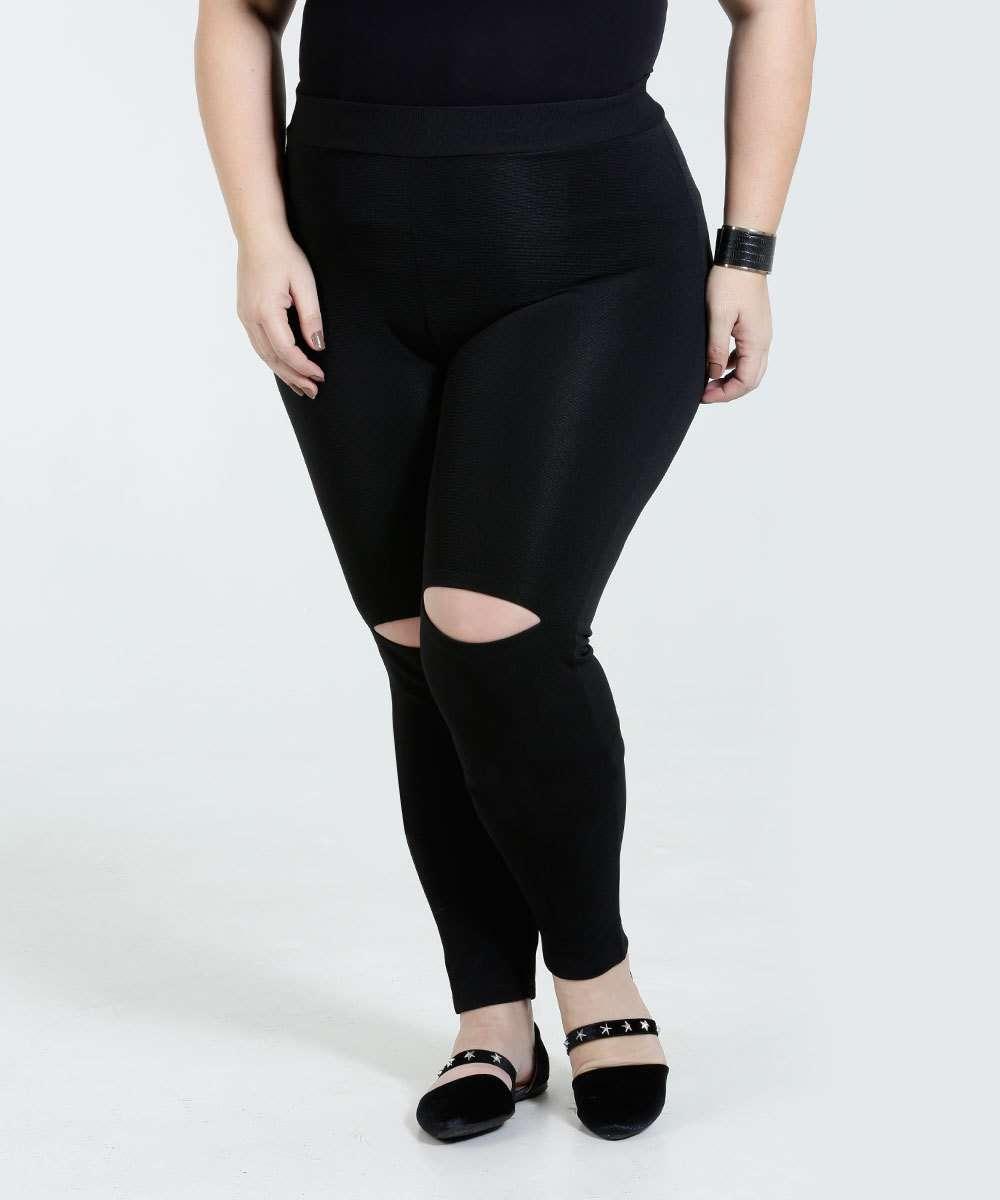 29a4cc252 Calça Feminina Legging Canelado Rasgos Plus Size | Marisa