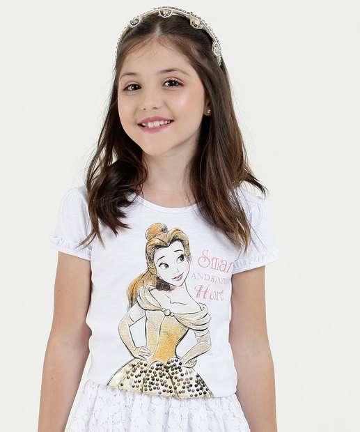 Image_Blusa Infantil Estampa Princesa Bela Manga Curta Disney