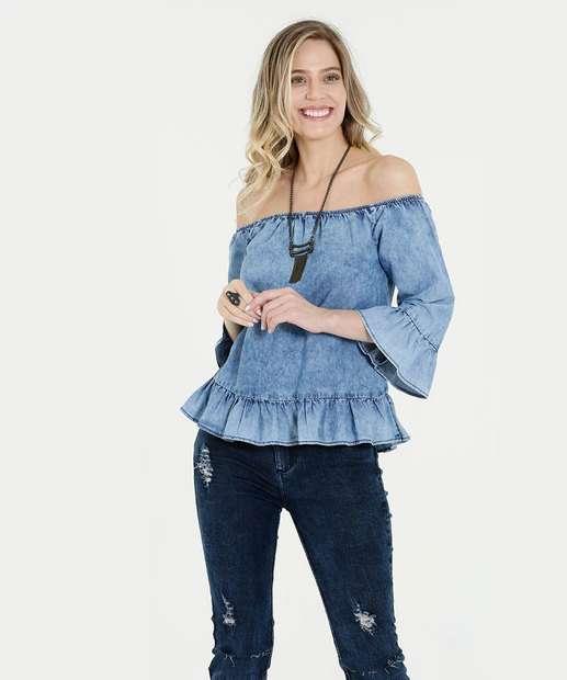 Image_Blusa Feminina Jeans Ombro a Ombro Babado Marisa
