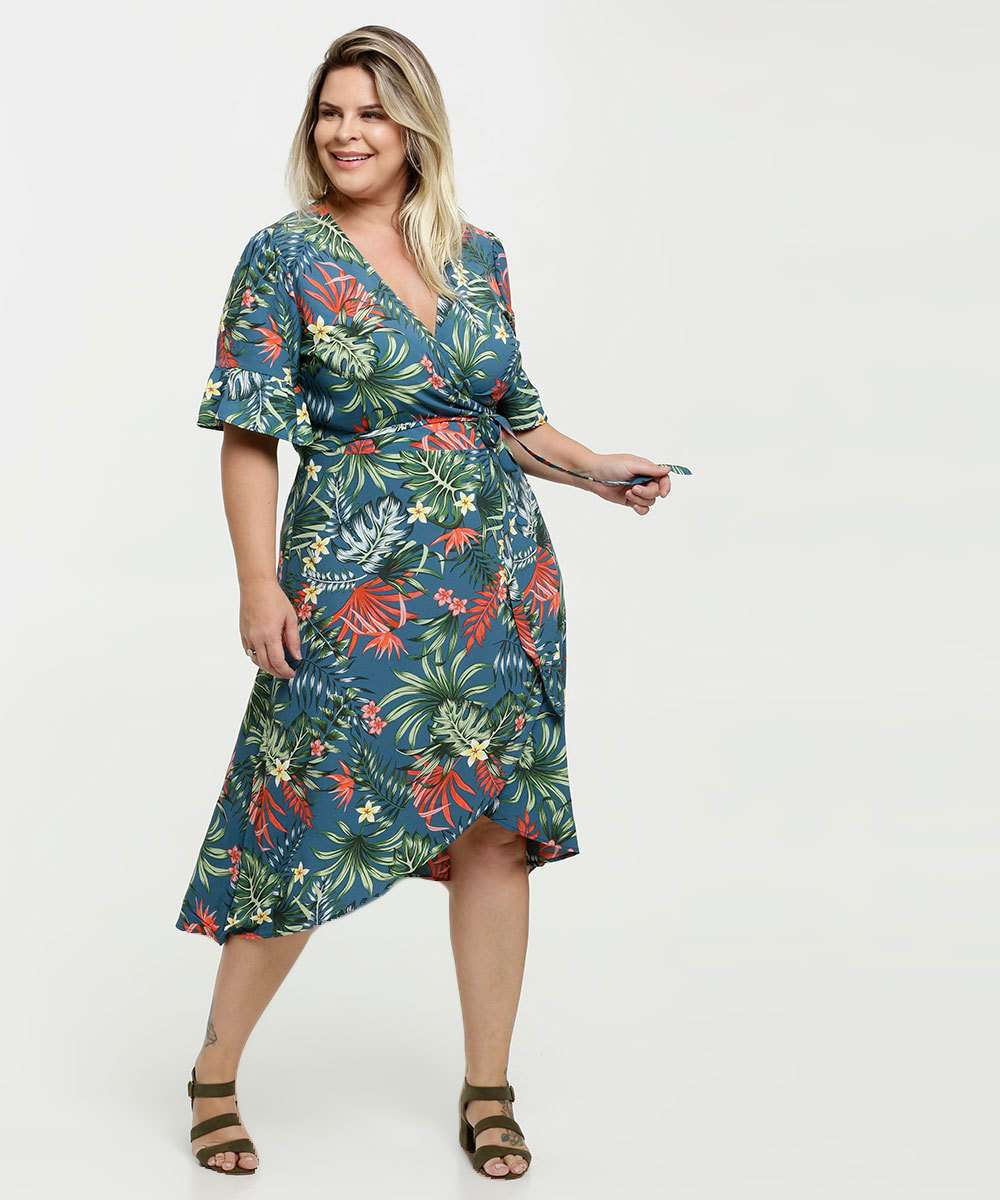 Vestido Feminino Transpassado Estampa Tropical Plus Size Marisa