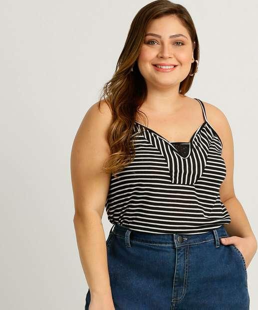 Image_Blusa Plus Size Feminina Listrada Alças Finas