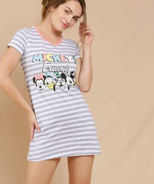 Image_Camisola Feminina Listrada Mickey E Amigos Disney