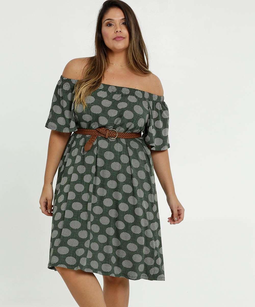 Vestido Feminino Ombro a Ombro Bolinhas Plus Size Marisa