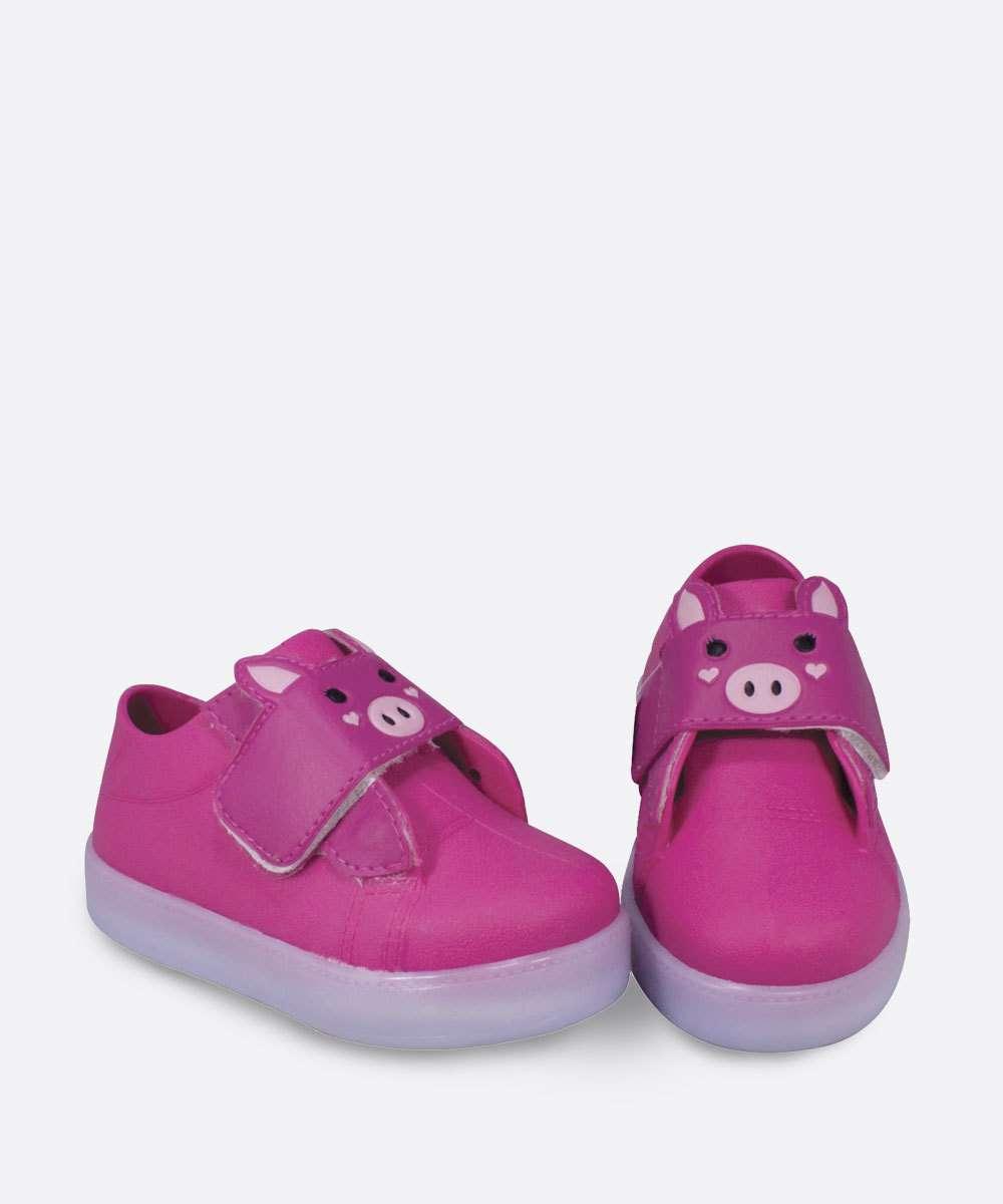 Tênis Infantil Casual Estampa Porco Velcro