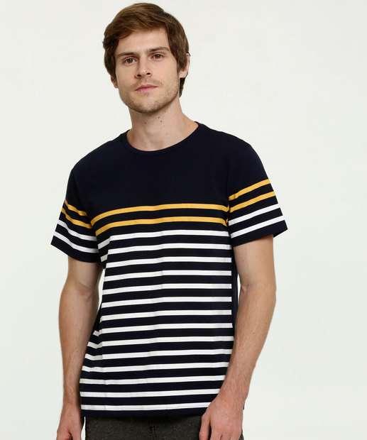 Image_Camiseta Masculina Listrada Manga Curta