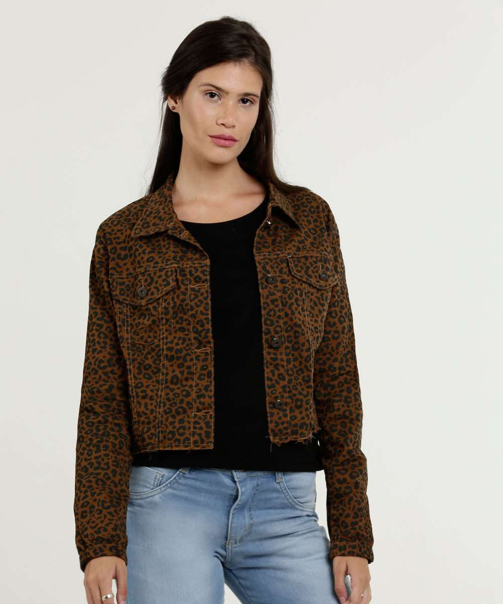 Jaqueta Feminina Sarja Estampa Animal Print Razon