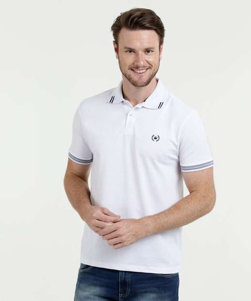 Polo Masculina Bordado Manga Curta Marisa 5be43feec0a39