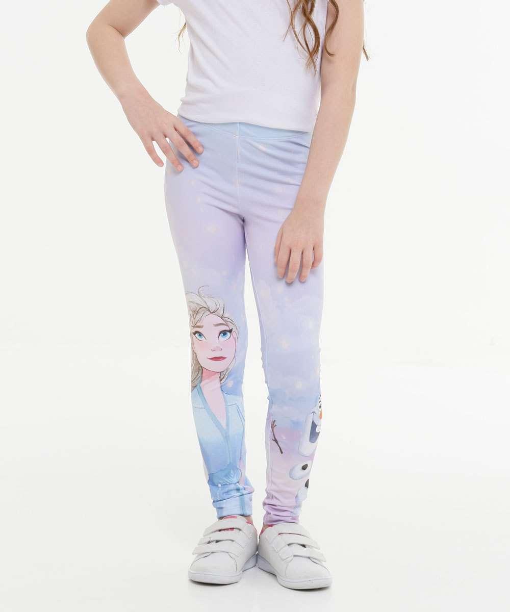 Calça Infantil Legging Estampa Frozen Disney Tam 4 a 10
