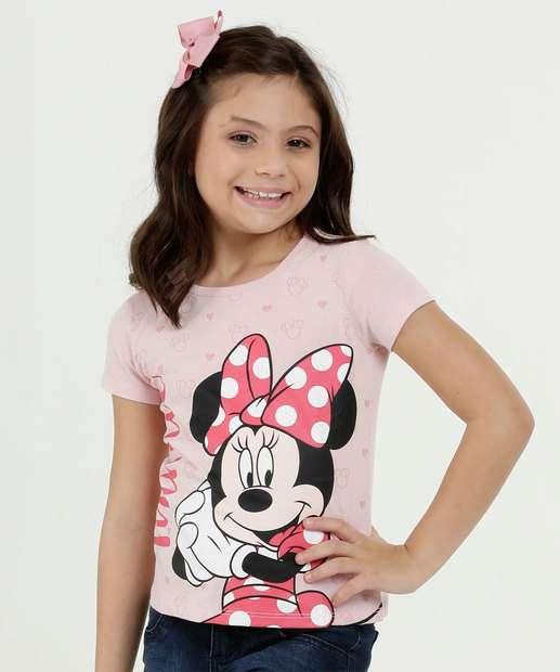 68de64a99 Blusa Infantil Estampa Minnie Brilho Manga Curta Disney