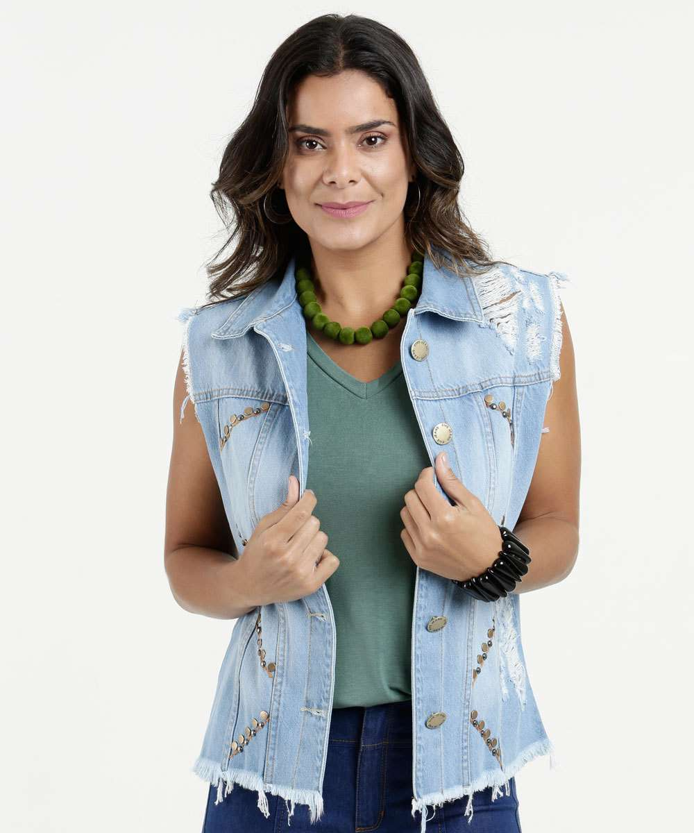 9b9ffcab14 Colete Jeans Feminino Destroyed Five Jeans