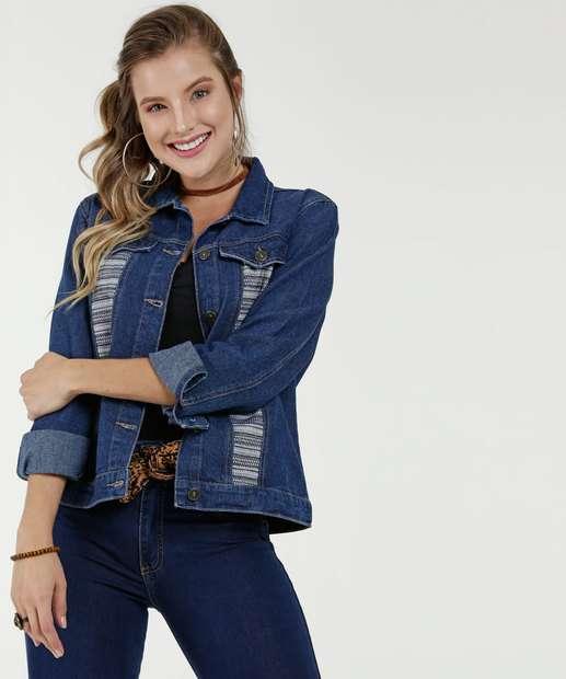 7b7c02219b Jaqueta Feminina Jeans Textura Marisa