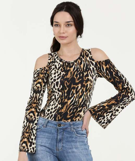 Image_Body Feminino Animal Print Open Shoulder Manga Longa