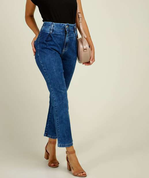 Image_Calça Jeans Reta Feminina Cintura Alta Sawary