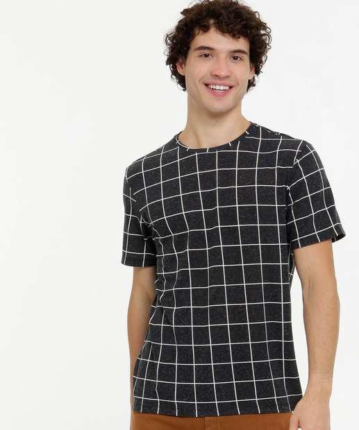 Image_Camiseta Masculina Estampa Quadriculada Manga Curta MR