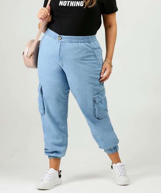 Image_Calça Plus Size Feminina Jeans Jogger Cargo Razon