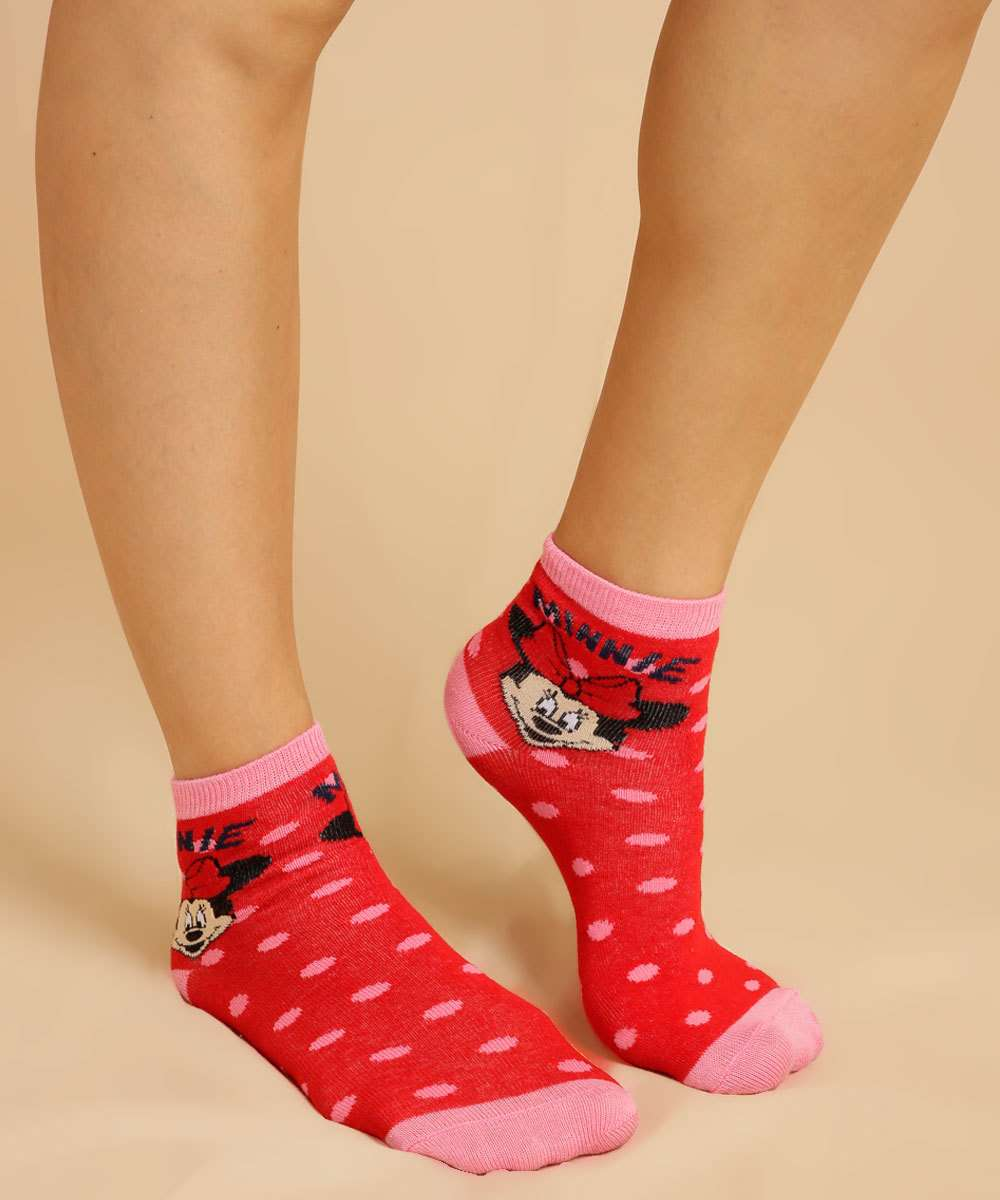 Kit 2 Pares Meia Soquete Feminina Minnie Disney