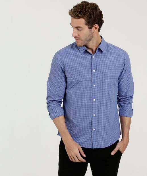 656ce91871 Camisa Masculina Estampa Quadriculada MR