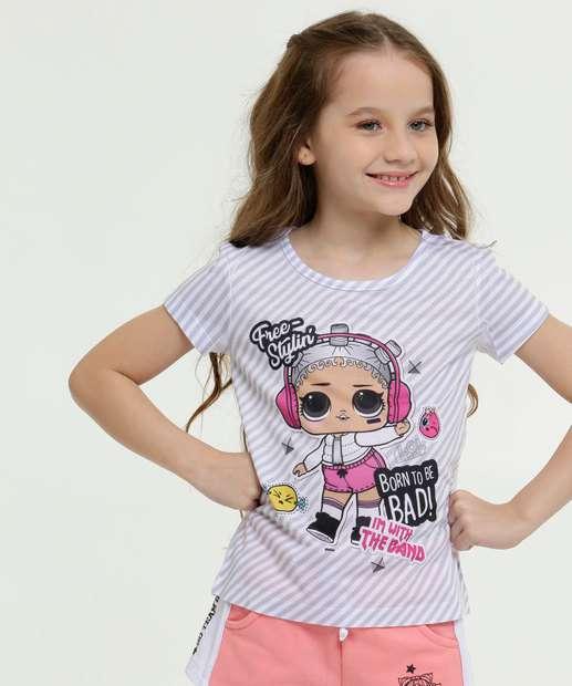 Image_Blusa Infantil Listrada Estampa Boneca Lol