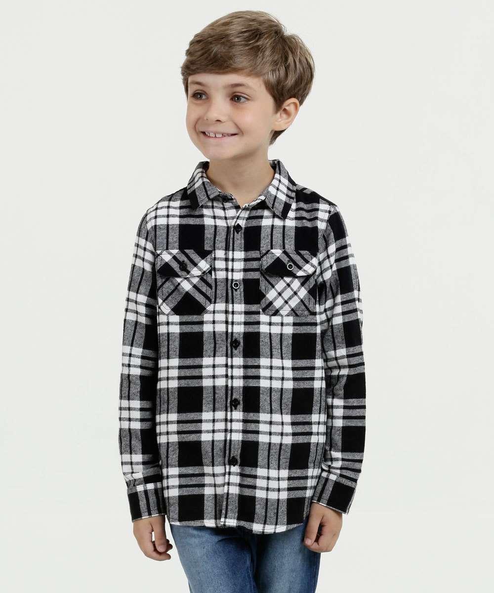 Camisa Infantil Flanelada Estampa Xadrez MR