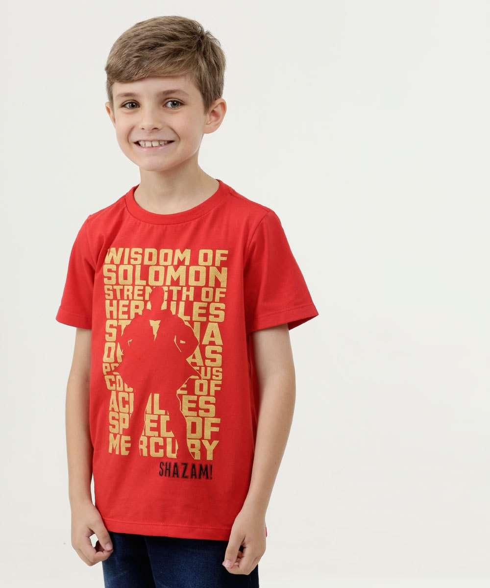 Camiseta Infantil Estampa Shazam Manga Curta Warner Bros