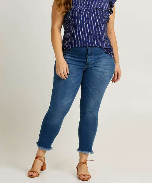 Image_Calça Plus Size Feminina Jeans Cigarrete Barra Desfiada