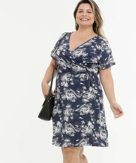 Image_Vestido Plus Size Feminino Tropical Transpassado
