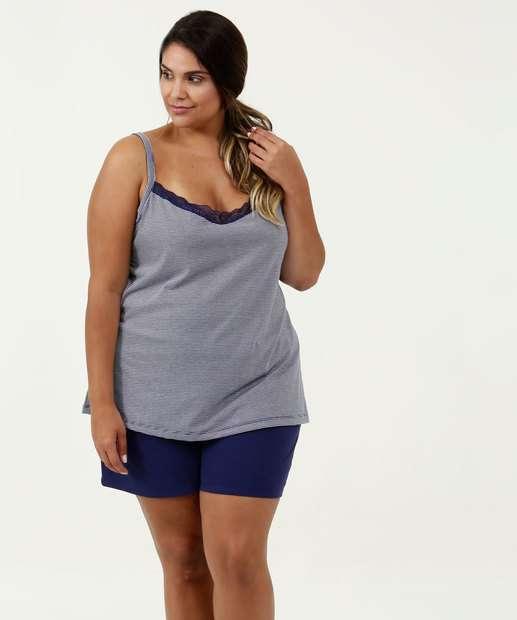Image_Pijama Feminino Listrado Plus Size Alças Finas Marisa