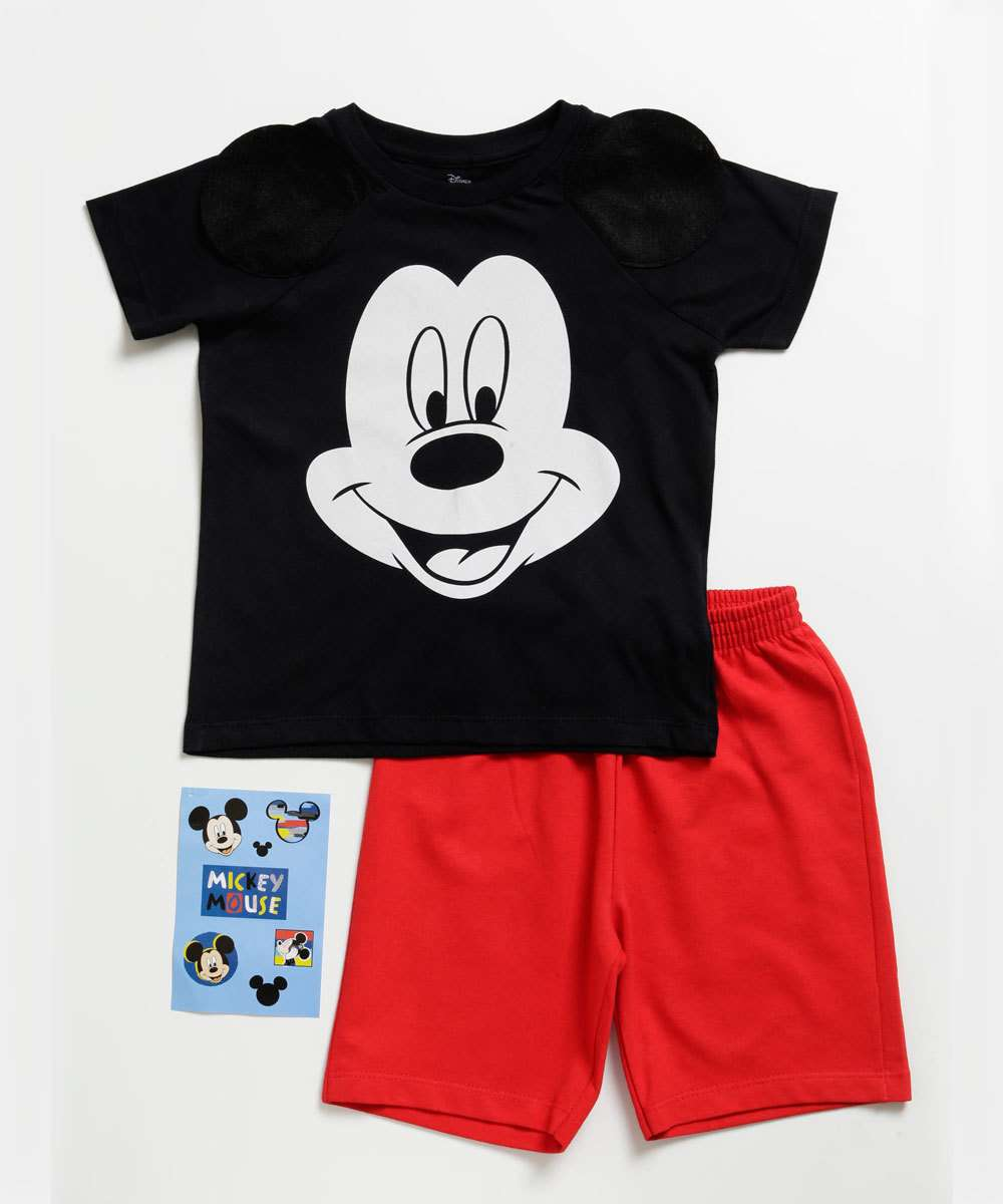 Conjunto Infantil Estampa Mickey Manga Curta Brinde Disney