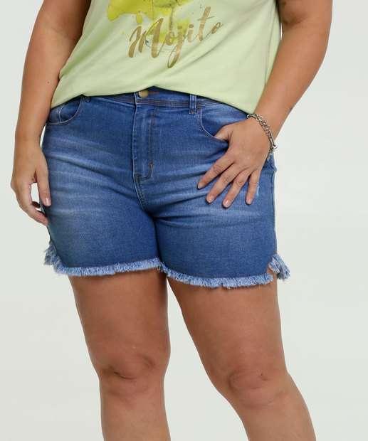 Image_Short Feminino Jeans Puídos Bolsos Plus Size Marisa