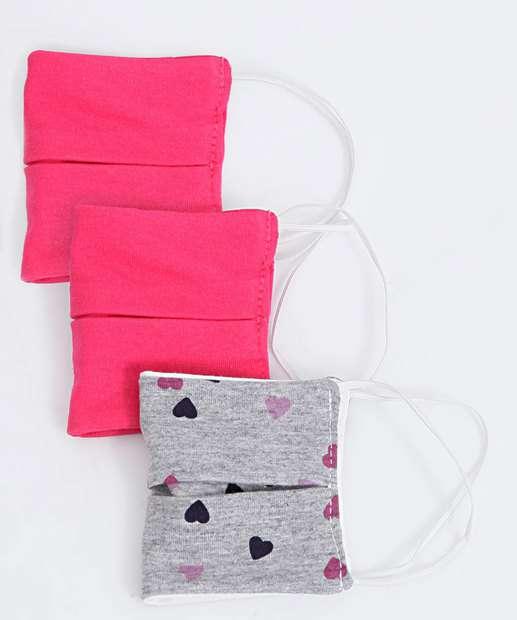 Image_Kit 3 Máscaras Proteção Infantil Estampa Corações