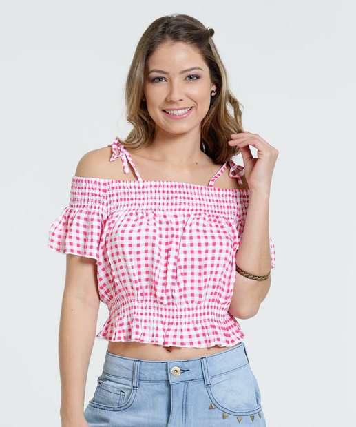 Image_Blusa Feminina Open Shoulder Estampa Xadrez Marisa
