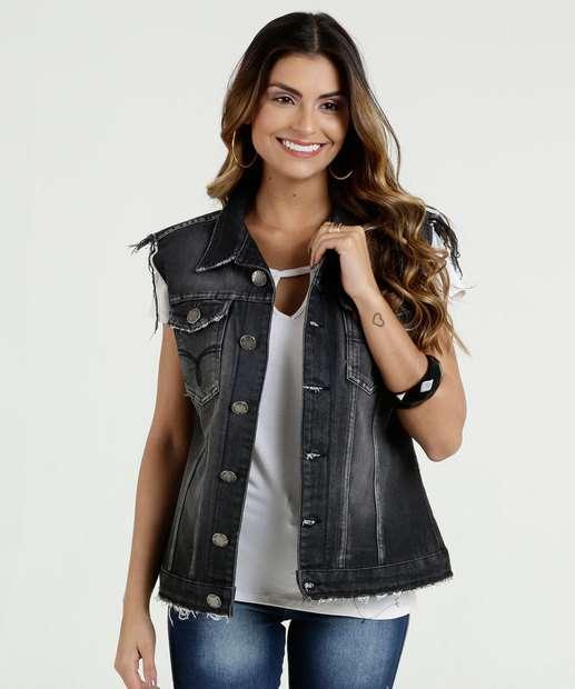 Image_Colete Feminino Jeans Puídos Five Jeans