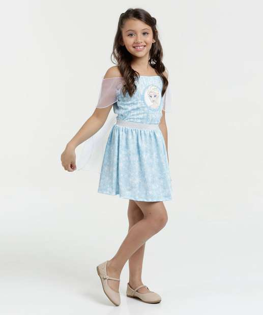 Image_Vestido Infantil Open Shoulder Estampa Elsa Disney