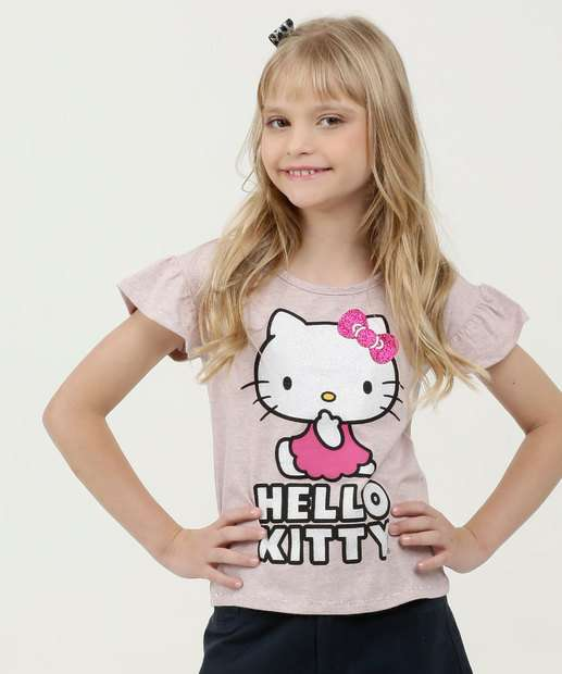 Image_Blusa Infantil Estampa Hello Kitty Glitter Manga Curta Sanrio