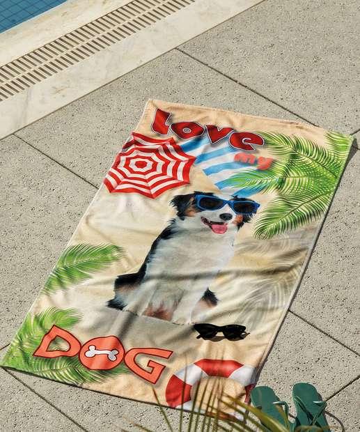 Image_Toalha de Praia Aveludada Love My Dog Lepper