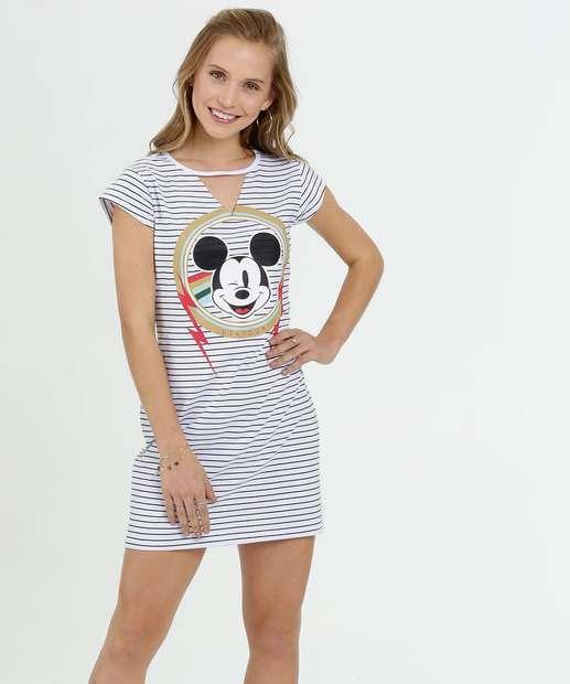 Image_Vestido Feminino Choker Listrado Mickey Manga Curta Disney
