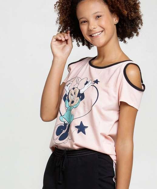 Image_Blusa Juvenil Open Shoulder Minnie Glitter Manga Curta Disney