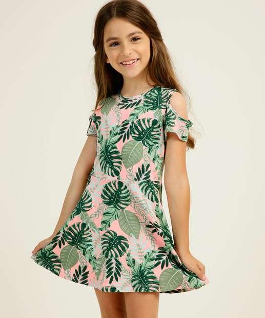 Image_Vestido Infantil Open Shoulder Estampa Tropical Tam 4 a 10