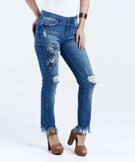Image_Calça Feminina Jeans Destroyed Bordado Skinny Marisa