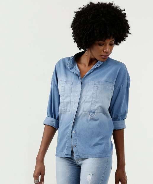 Image_Camisa Feminina Jeans Detalhe Bolso Manga Longa Marisa