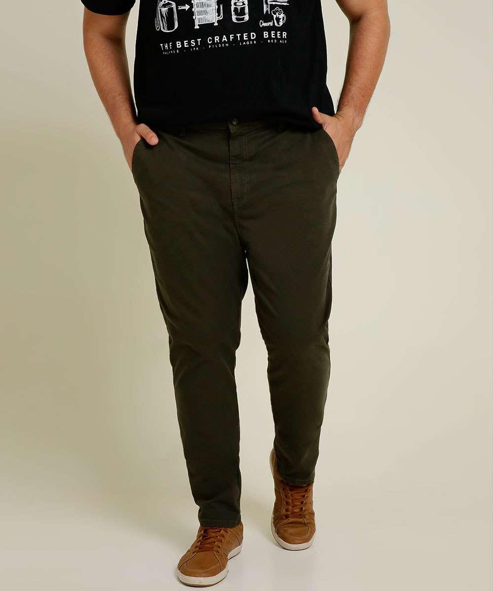 Calça Masculina Sarja Chino Plus Size