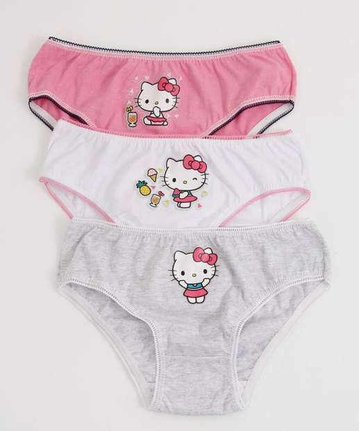 Image_Kit 3 Calcinhas Infantil Estampa Hello Kitty Sanrio