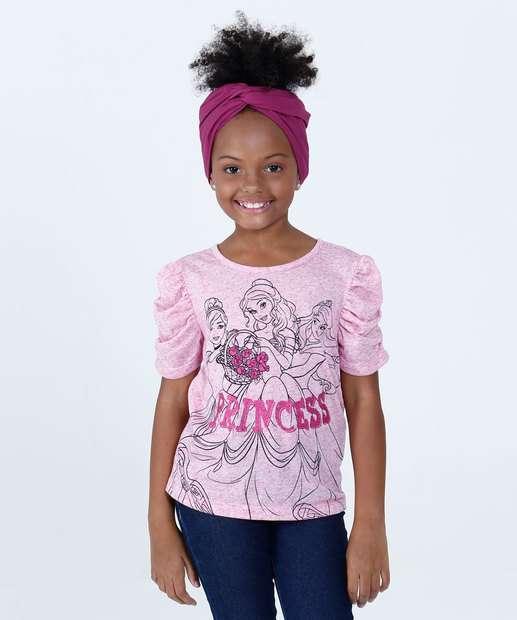 Image_Blusa Infantil Estampa Princesas Manga Curta Disney