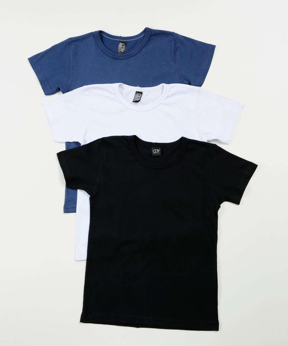 Kit 3 Camisetas Infantil Básica Manga Curta Tam 4 a 10