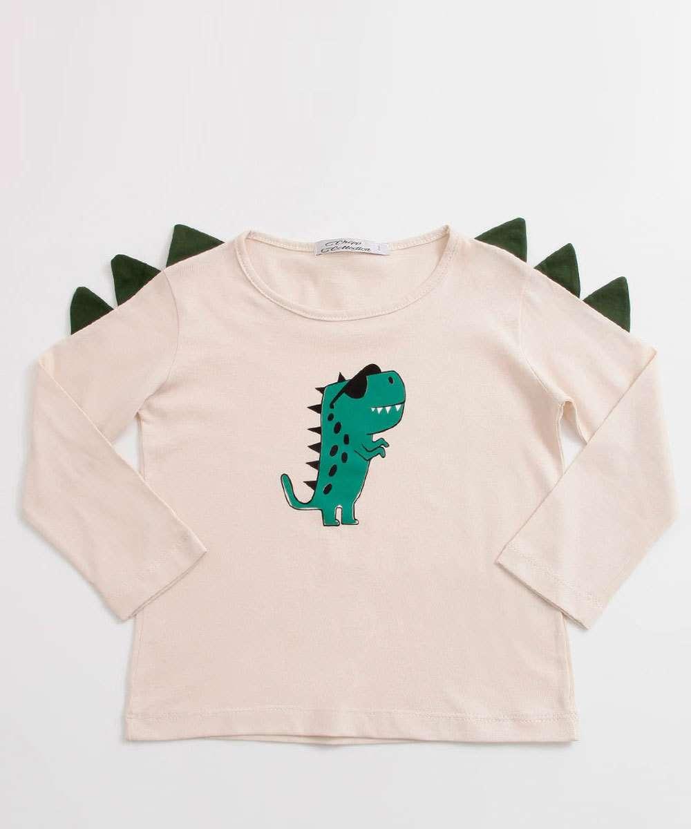 Camiseta Infantil Estampa Dinossauro Manga Longa