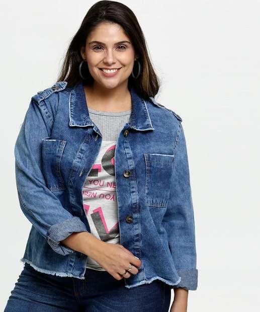 Image_Jaqueta Feminina Jeans Barra Desfiada Plus Size Razon