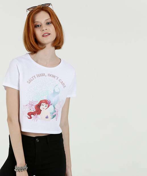 Image_Blusa Feminina Cropped Estampa Frontal Ariel Manga Curta Disney